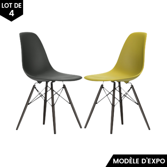 chaise eames dsw jaune gris lot de 4 vitra pas cher grandes marques en promo sur zeeloft. Black Bedroom Furniture Sets. Home Design Ideas