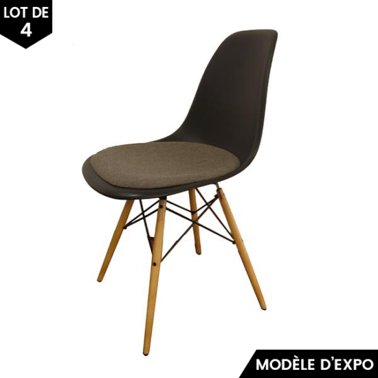 chaise eames dsw gris lot de 4 vitra pas cher grandes marques en promo sur zeeloft. Black Bedroom Furniture Sets. Home Design Ideas