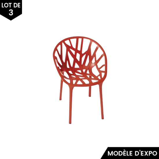 chaise vegetal miniature rouge set de 3 vitra pas cher grandes marques en promo sur zeeloft. Black Bedroom Furniture Sets. Home Design Ideas