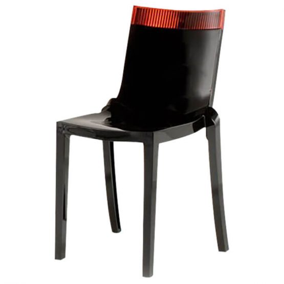 chaise hi cut noir rouge lot de 6 kartell pas cher. Black Bedroom Furniture Sets. Home Design Ideas