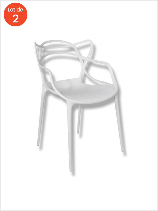 fauteuil masters lot de 2 blanc kartell d 39 occasion zeeloft. Black Bedroom Furniture Sets. Home Design Ideas