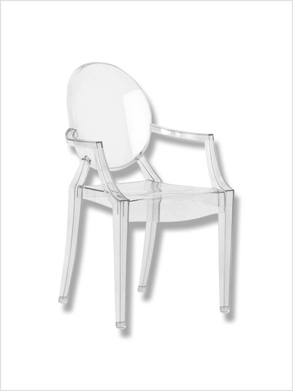 fauteuil louis ghost transparent p starck kartell en occasion zeeloft. Black Bedroom Furniture Sets. Home Design Ideas