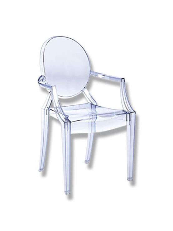 fauteuil louis ghost transparent bleu p starck kartell en occasion zeeloft. Black Bedroom Furniture Sets. Home Design Ideas