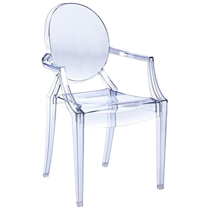fauteuil louis ghost transparent bleu p starck kartell en offre sp ciale sur zeeloft. Black Bedroom Furniture Sets. Home Design Ideas
