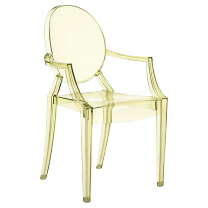 fauteuil louis ghost transparent jaune p starck kartell pas cher grandes marques en promo. Black Bedroom Furniture Sets. Home Design Ideas