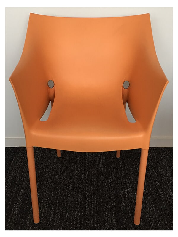 fauteuil dr no p starck orange aluminium kartell en occasion zeeloft. Black Bedroom Furniture Sets. Home Design Ideas