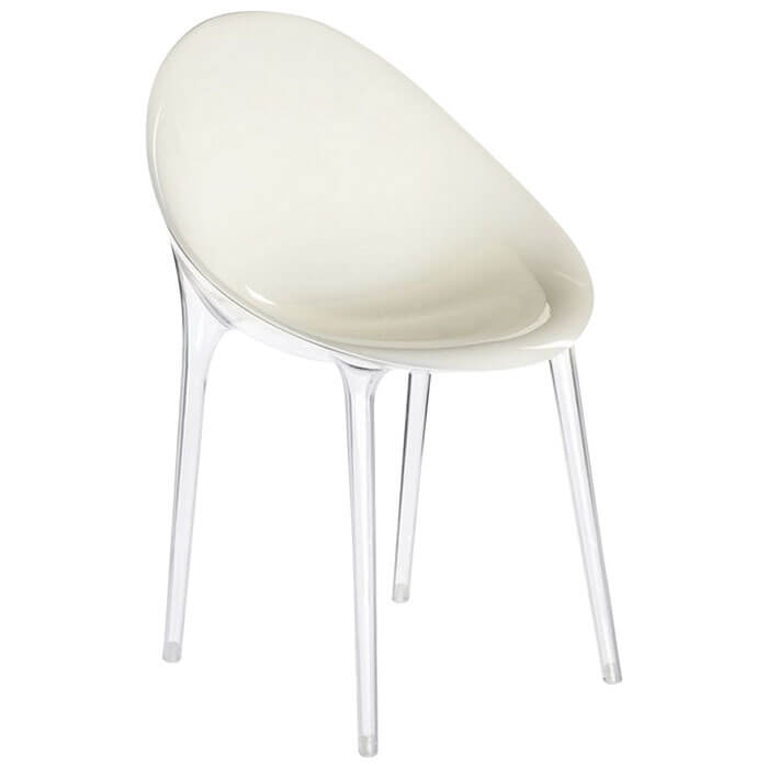 Fauteuil Mr Impossible blanc transparent (P. Starck) Kartell