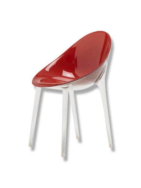 fauteuil mr impossible kartell starck rouge transparent zeeloft