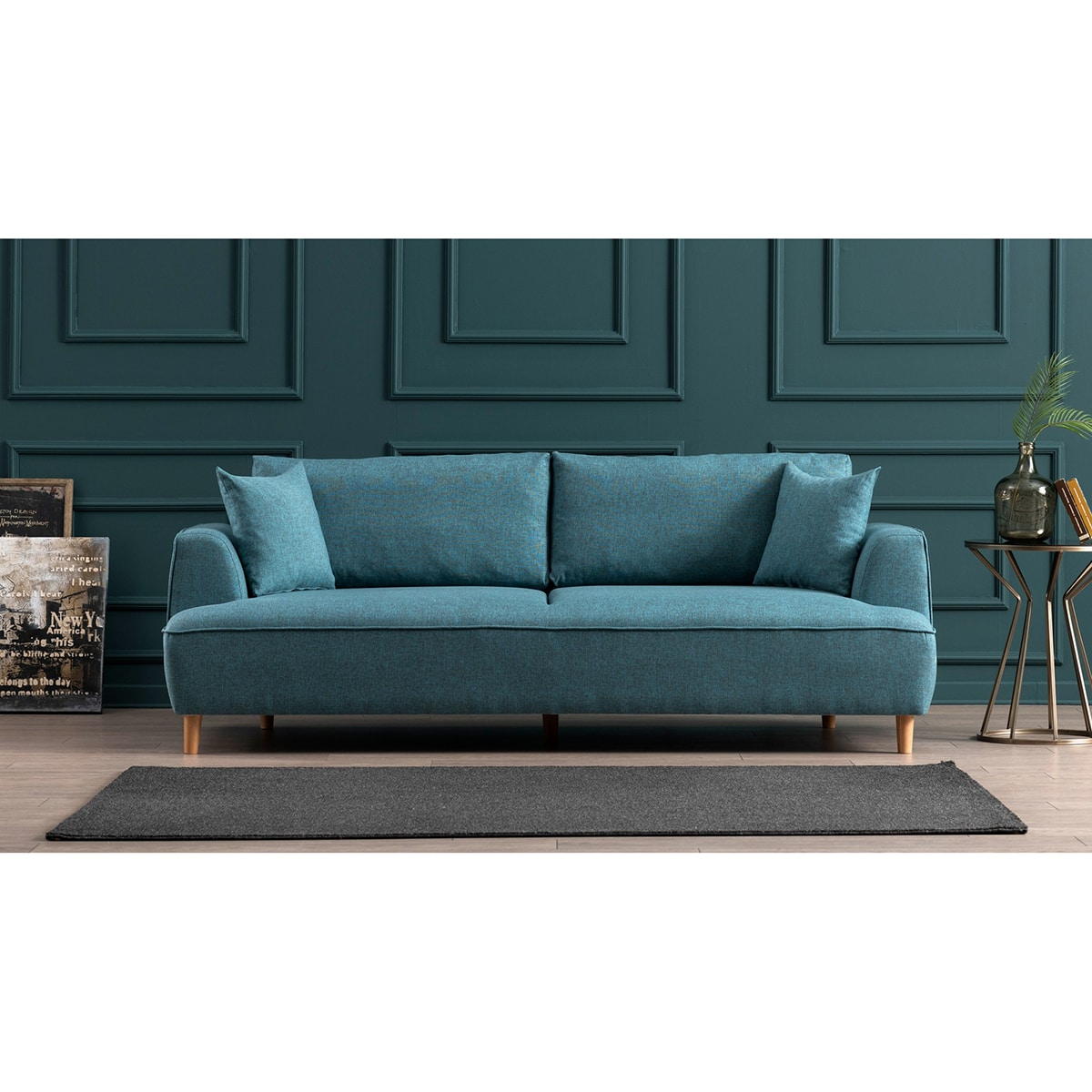 canap felix bleu turquoise atelier del sofa en offre. Black Bedroom Furniture Sets. Home Design Ideas