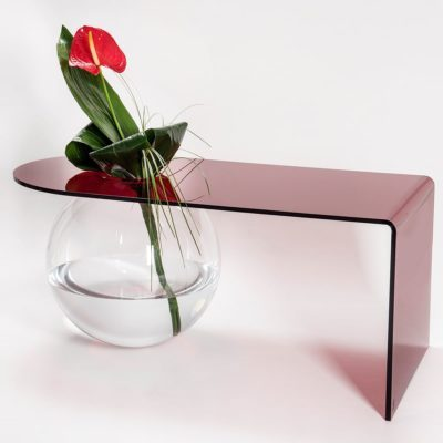 table basse boolla rouge transparent iplex zeeloft