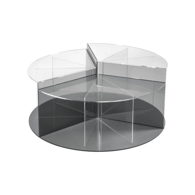 Table basse Mandarin D100 transparent gris iplex zeeloft