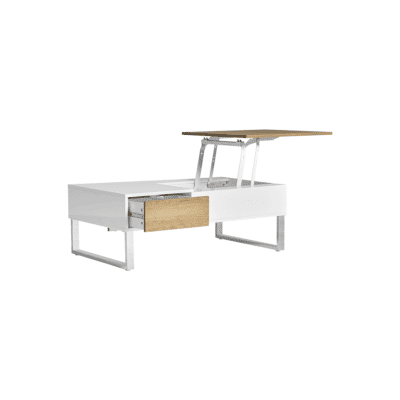 Table basse Zani blanc bois metal marckeric zeeloft