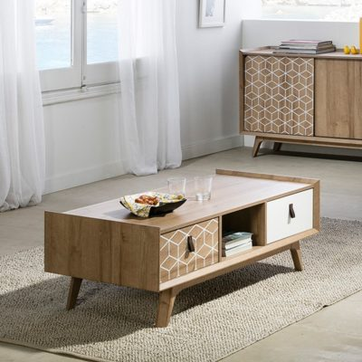 table basse Cube blanc bois naturel marckeric zeeloft