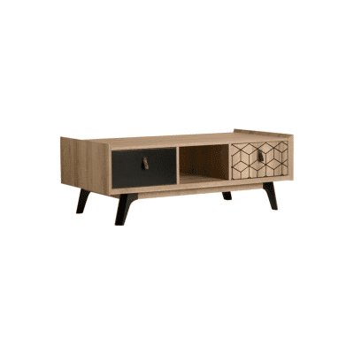 table basse Cube noir bois naturel marckeric zeeloft